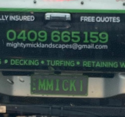 Registration number plate M M I C K I